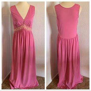 Vintage Pink Long Nightgown Dress Size M Boho Maxi
